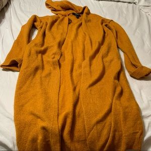 Long Yellow Sweater with Hood and Pocket Small Sz